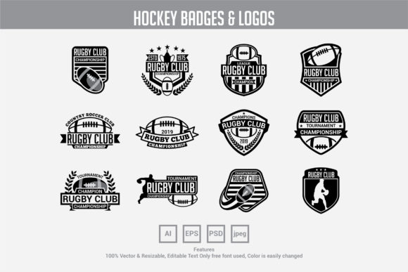 Rugby Club Badges Logos Graphic By Octopusgraphic Creative