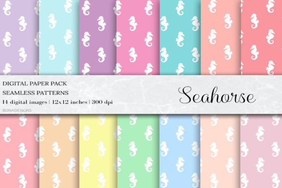 Seahorse Seamless Patterns Graphic Patterns By damlaakderes