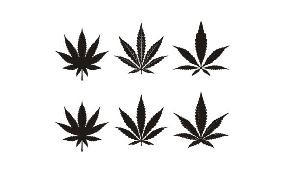 Print on Demand: Silhouette Cannabis Marijuana Hemp Leaf Graphic Logos By Enola99d