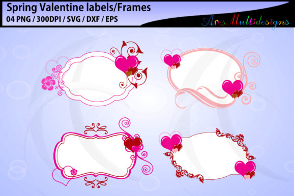 Spring Valentine Labels And Frames Graphic By Arcs Multidesigns