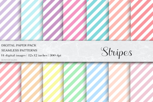 Stripes Digital Papers, Stripes Patterns Graphic Patterns By BonaDesigns