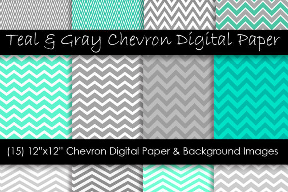 Teal & Gray Chevron Patterns Gráfico Moldes Por GJSArt