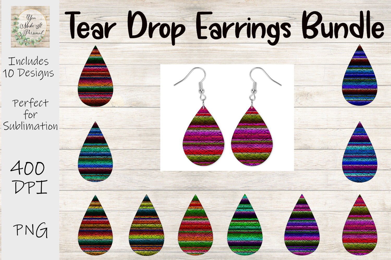 Download Free Tear Drop Earrings 10 Serape Designs Graphic By You Make It for Cricut Explore, Silhouette and other cutting machines.