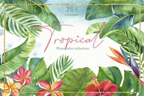 Print on Demand: Tropic Leaves & Flowers Watercolor Set Gráfico Ilustraciones Por lena-dorosh