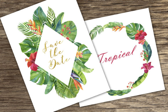 Tropic Leaves & Flowers Watercolor Set Graphic Illustrations By lena-dorosh - Image 3