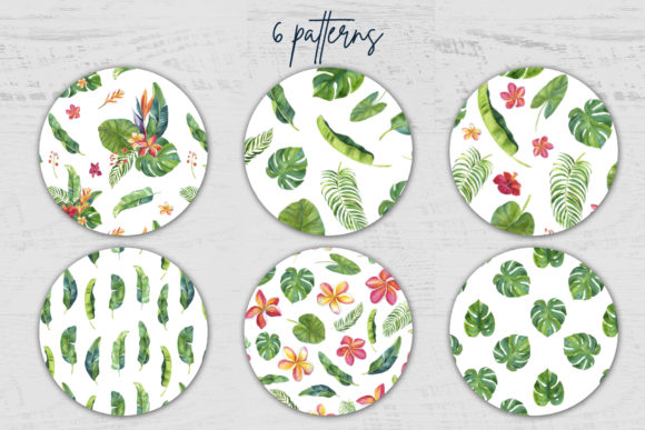 Tropic Leaves & Flowers Watercolor Set Graphic Illustrations By lena-dorosh - Image 5
