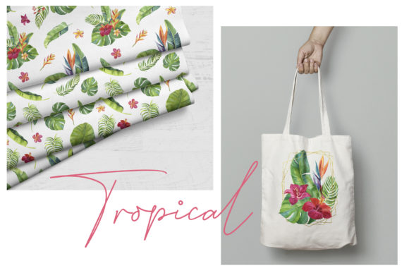 Tropic Leaves & Flowers Watercolor Set Graphic Illustrations By lena-dorosh - Image 6