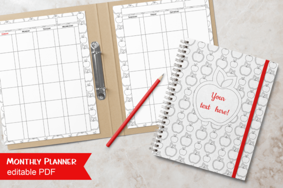 Print on Demand: Undated Monthly Planner B&W Apples Gráfico Plantillas para Impresión Por print.cut.hang