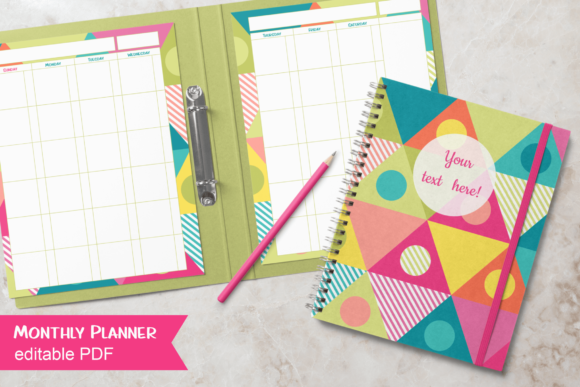 Print on Demand: Undated Monthly Planner Bold Triangles Graphic Print Templates By print.cut.hang