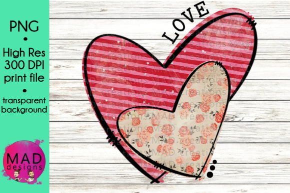 Valentine Hearts Pink Stripes and Floral Graphic Crafts By maddesigns718