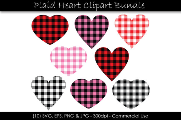 Valentine's Day Buffalo Plaid Hearts Graphic Objects By GJSArt