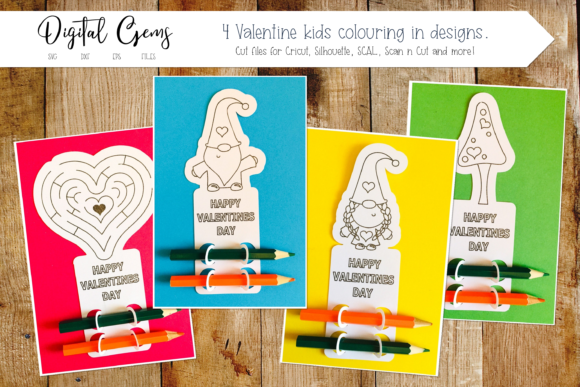 Valentines Gnome Colouring in Pages Graphic Crafts By Digital Gems