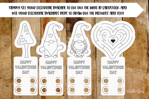 Valentines Gnome Colouring in Pages Graphic Crafts By Digital Gems - Image 2
