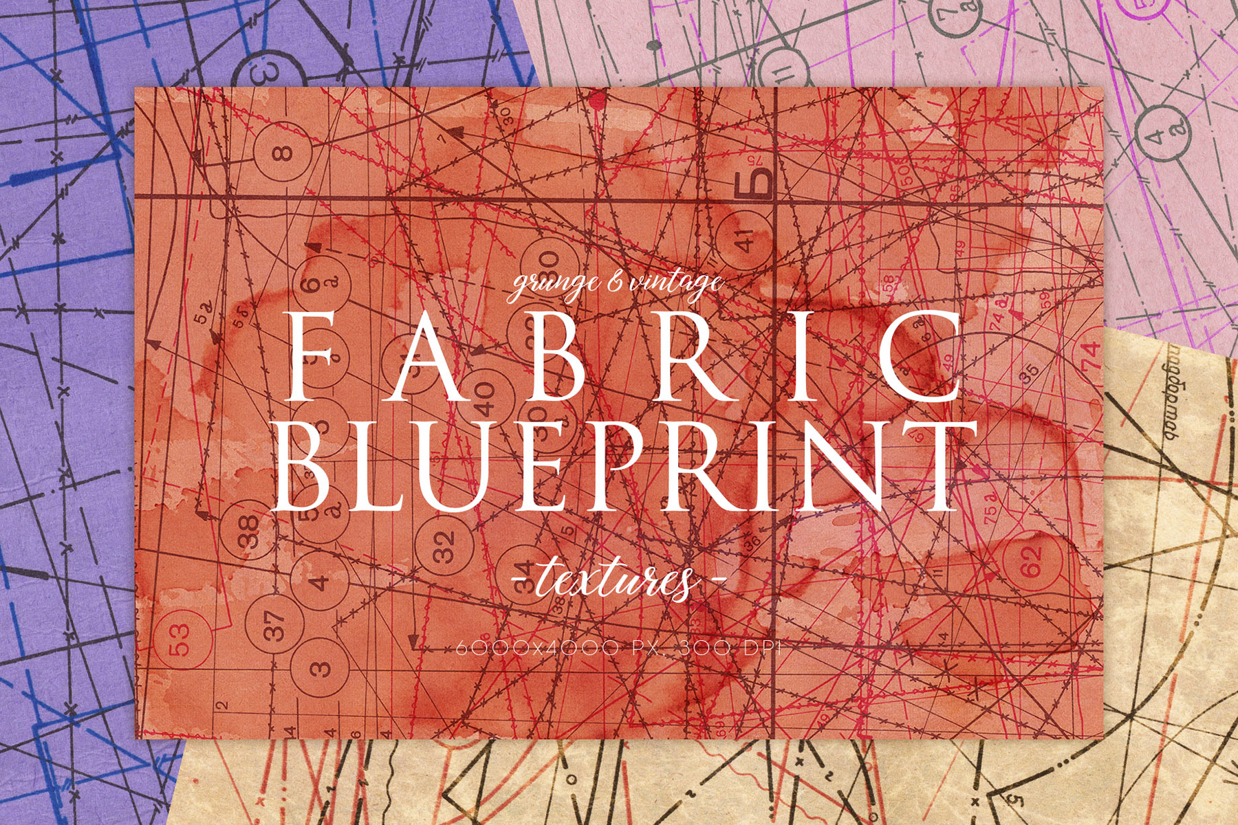 Download Free Vintage Fabric Blueprint Textures 2 Graphic By Artistmef Creative Fabrica for Cricut Explore, Silhouette and other cutting machines.