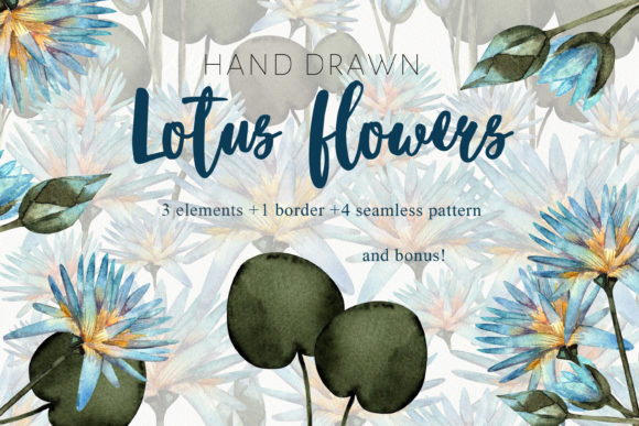 Print on Demand: Watercolor Lotus Flowers Graphic Illustrations By marisid11