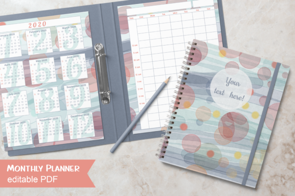 Print on Demand: Watercolor Monthly Planner over 2 Pages Graphic Print Templates By print.cut.hang