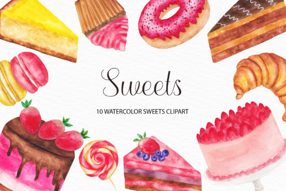 Watercolor Sweets Illustrations Graphic Illustrations By damlaakderes