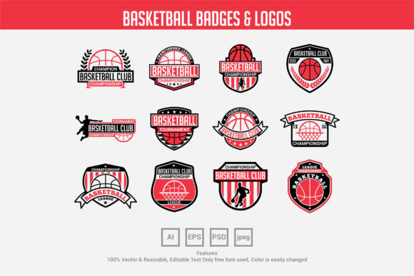 Download Free Basketball Badges Logos Graphic By Octopusgraphic Creative for Cricut Explore, Silhouette and other cutting machines.