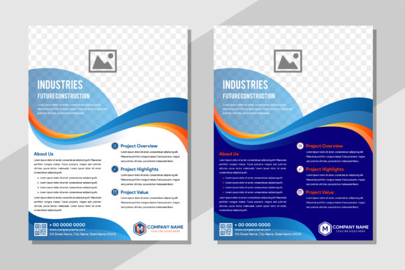 Print on Demand: Blue Orange Wave Flyer Graphic Graphic Templates By noory.shopper