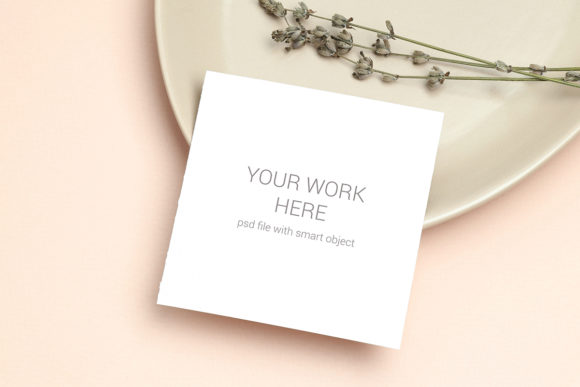 Download Free Mockup Card With Lavender On Plate Graphic By Pawmockup for Cricut Explore, Silhouette and other cutting machines.