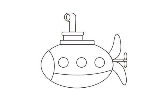 Submarine Coloring Book Transportation L Graphic Coloring Pages & Books Kids By DEEMKA STUDIO - Image 1