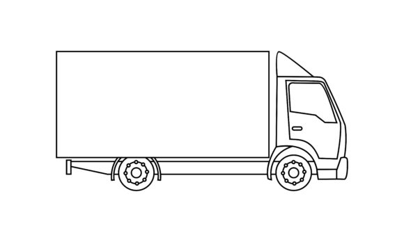 Download Free Truck Coloring Book Transportation Logo Graphic By Deemka Studio for Cricut Explore, Silhouette and other cutting machines.