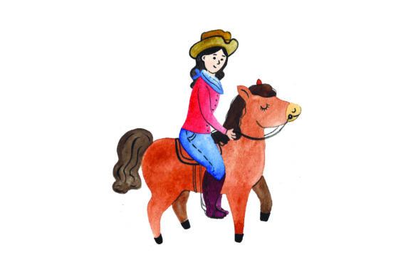 Girl Riding Horse - Watercolor Cowgirl Plotterdatei von Creative Fabrica Crafts
