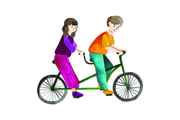 Man & Woman Riding Tandem Bicyle - Watercolor Designs & Drawings Craft Cut File By Creative Fabrica Crafts