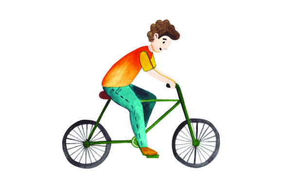 Download Free Man Riding Bicycle Watercolor Style Svg Cut File By Creative for Cricut Explore, Silhouette and other cutting machines.
