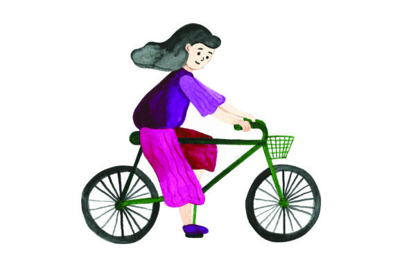 Woman Riding Bicycle - Watercolor Designs & Drawings Craft Cut File By Creative Fabrica Crafts
