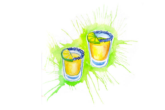 Tequila Shots with Lime Wedges in Paint Splatter Style Happy Hour Craft Cut File By Creative Fabrica Crafts