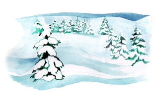 Snowy Landscape in Watercolor Style Winter Craft Cut File By Creative Fabrica Crafts
