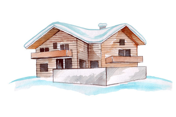 Ski Chalet in Watercolor Style Winter Craft Cut File By Creative Fabrica Crafts