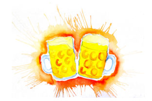Mugs of Beer in Paint Splatter Style Happy Hour Craft Cut File By Creative Fabrica Crafts