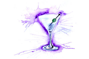 Martini in Paint Splatter Style Happy Hour Craft Cut File By Creative Fabrica Crafts