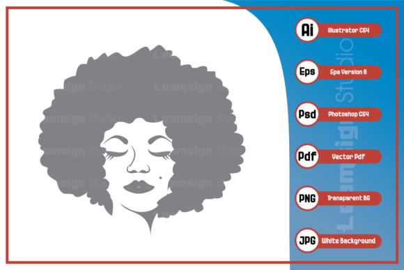 Print on Demand: Afro Women Design Graphic Icons By leamsign