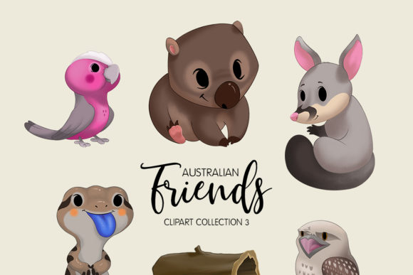 Australian Friends Clipart Collection 03 Graphic Illustrations By usefulbeautiful