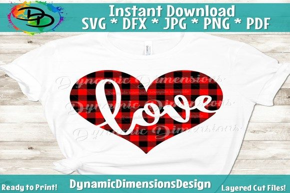 Print on Demand: Buffalo Plaid Love Heart, Valentine Graphic Crafts By dynamicdimensions