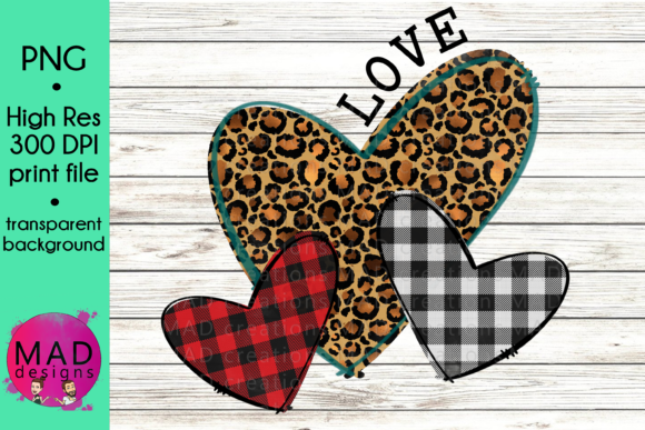 Buffalo Plaid and Leopard Print Hearts Graphic Graphic Templates By maddesigns718
