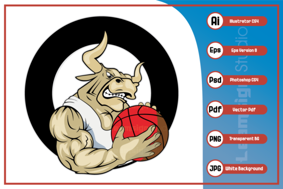 Print on Demand: Bull Basketball Design Graphic Icons By leamsign