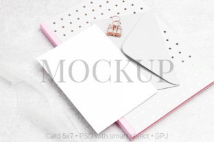 Print on Demand: Card Mockup with Notebook Graphic Product Mockups By PawMockup