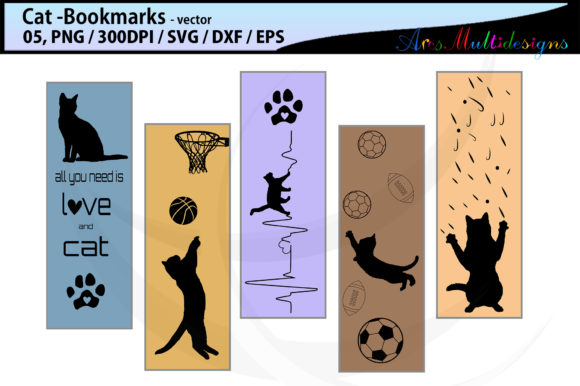Download Free Cat Bookmarks Graphic By Arcs Multidesigns Creative Fabrica for Cricut Explore, Silhouette and other cutting machines.