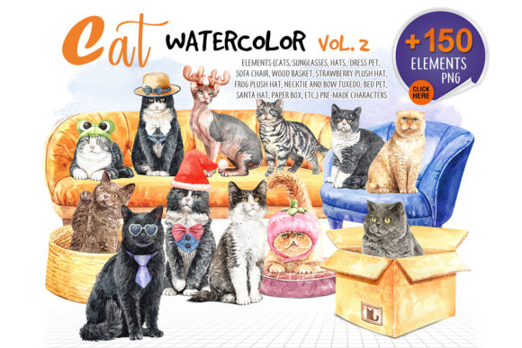 Print on Demand: Katzen Aquarell Vol. 2 Haustier-Clipart Grafik Illustrationen von SapG Art