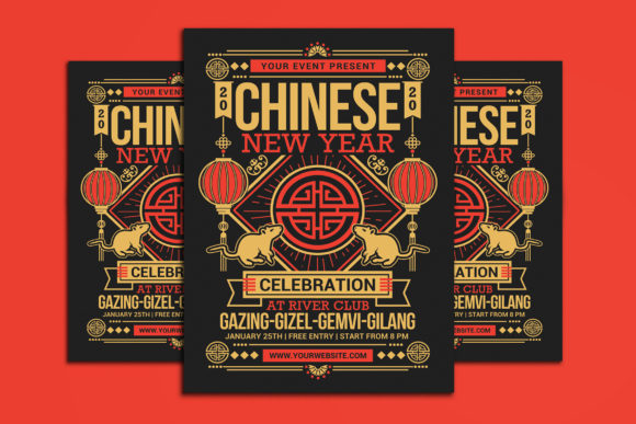 Chinese New Year 2020 Graphic Print Templates By muhamadiqbalhidayat