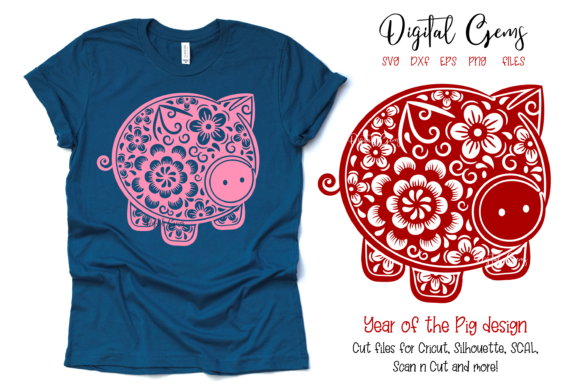 Chinese New Year Pig Design Graphic Crafts By Digital Gems