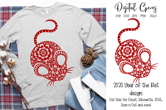 Download Free Chinese New Year Rat Design 2020 Graphic By Digital Gems SVG Cut Files