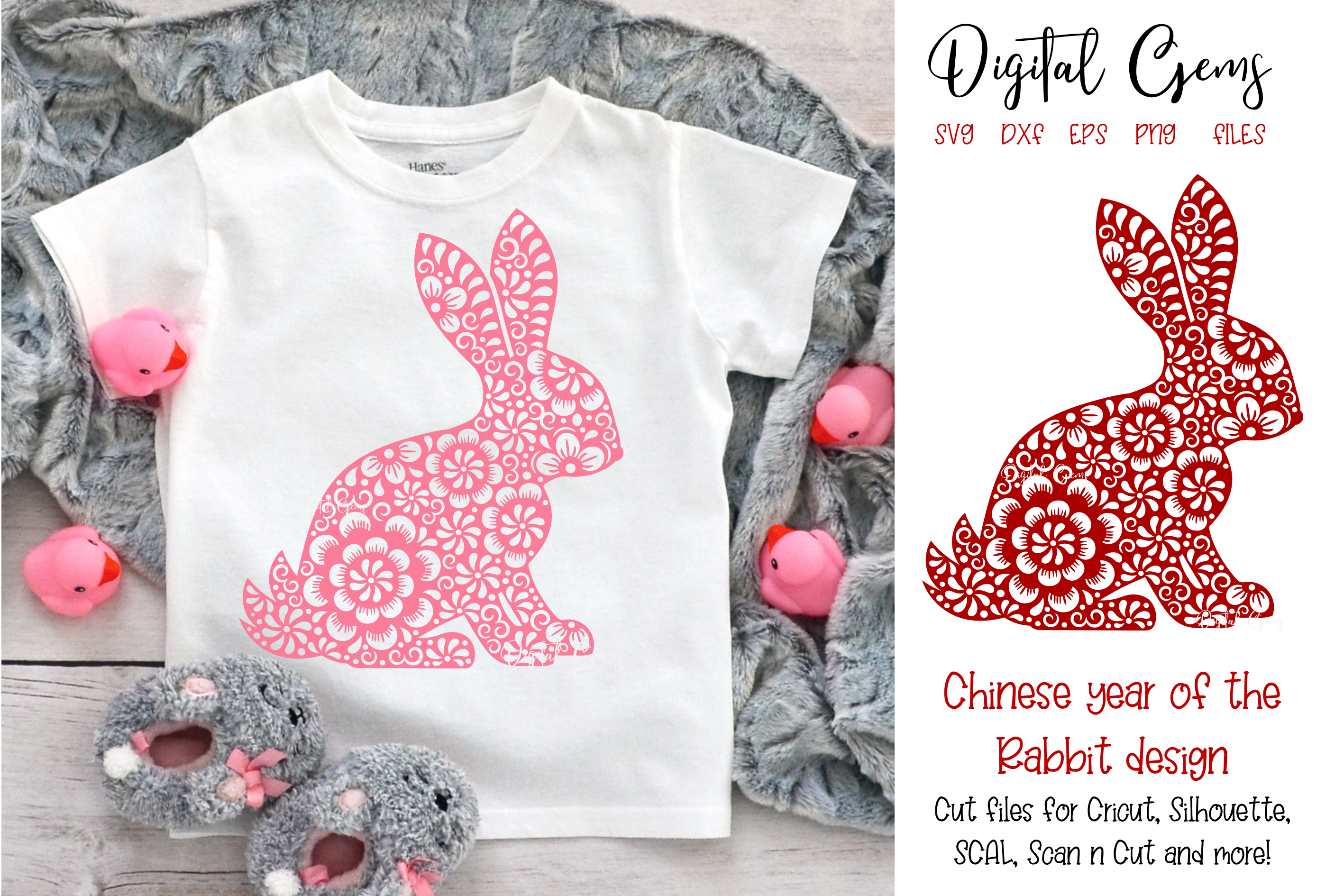 Download Free Chinese Year Of The Rabbit Design Graphic By Digital Gems for Cricut Explore, Silhouette and other cutting machines.