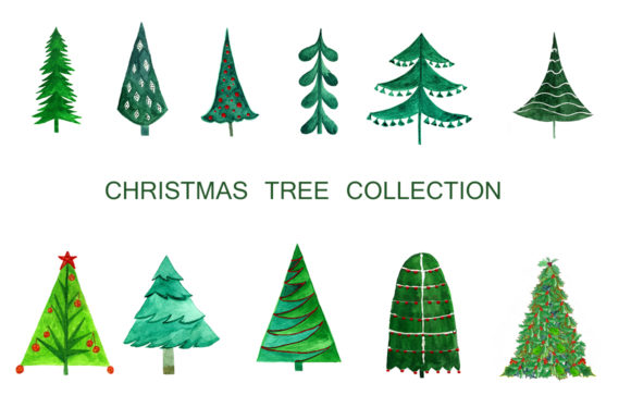 Download Free Christmas Tree Collection Graphic By Kakva Creative Fabrica for Cricut Explore, Silhouette and other cutting machines.