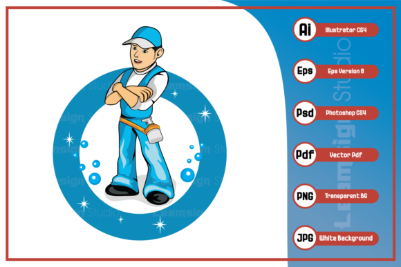 Print on Demand: Cleaning Worker Design Graphic Icons By leamsign
