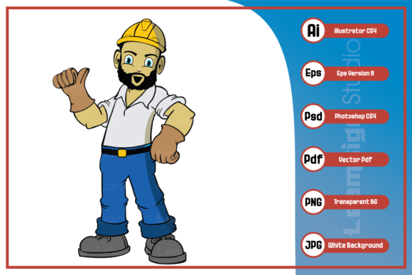 Print on Demand: Construction Worker Design Graphic Icons By leamsign